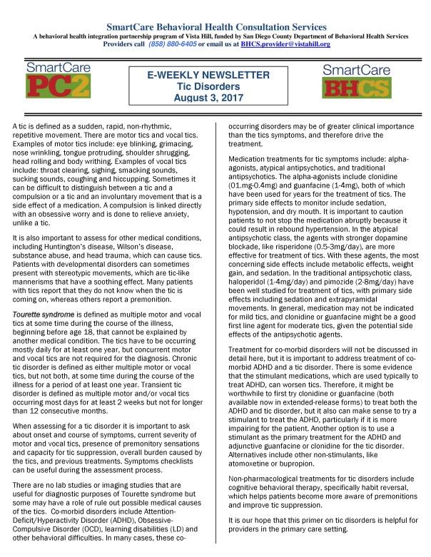 E-Weekly.Tic.Disorders.8.3.2017